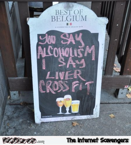 Funny liver cross fit sign - Friday lol memes @PMSLweb.com