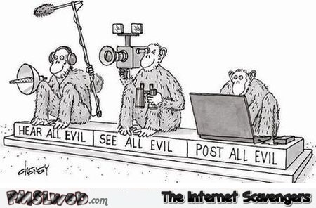 Three monkeys of evil funny cartoon @PMSLweb.com
