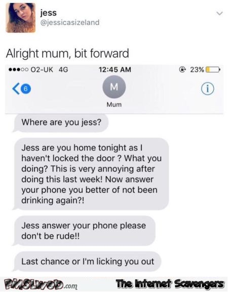 Mum's text message fail adult humor @PMSLweb.com