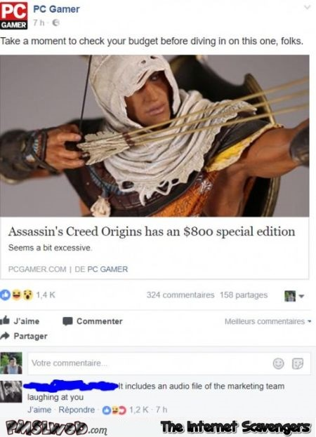 Assassin's creed special edition funny comment - Sunday LOL Time @PMSLweb.com
