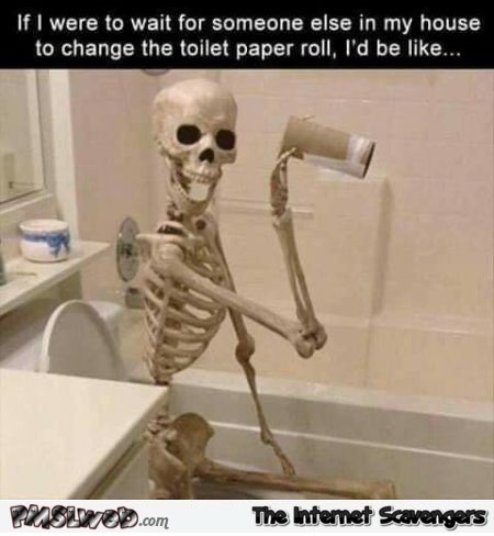 Waiting for someone to change the toilet paper roll funny meme - Funny picture and meme collection @PMSLweb.com