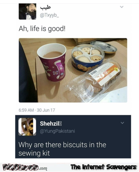 Why are there biscuits in the sewing kit funny comment @PMSLweb.com
