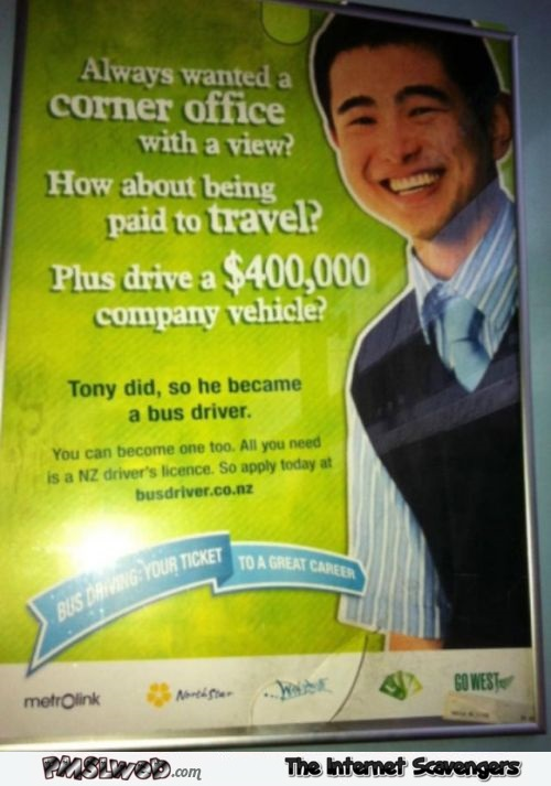 Become a bus driver funny advert - Funny Internet pics @PMSLweb.com