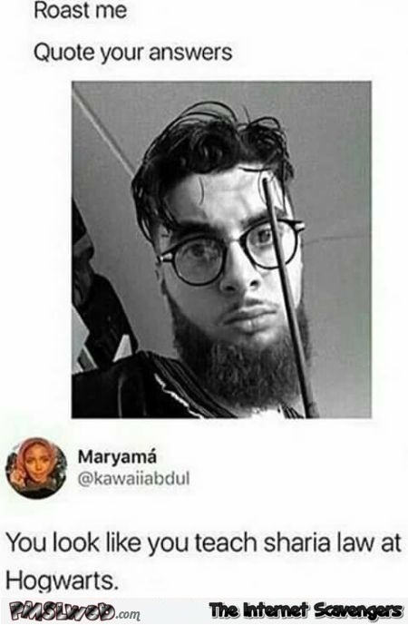 You look like you teach Sharia law at hogwarts funny roast me @PMSLweb.com