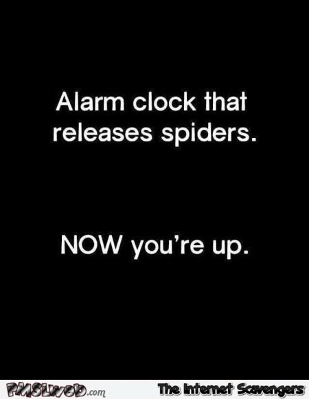 If an alarm clock released spiders humor @PMSLweb.com