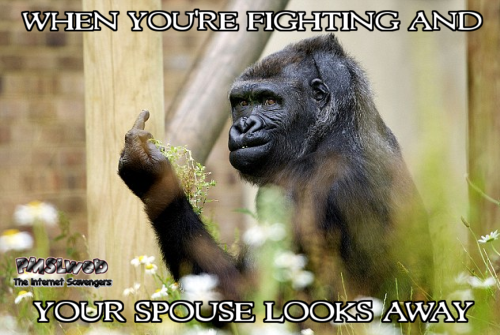 When you're fighting and your spouse looks away funny meme @PMSLweb.com
