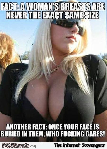 A woman's breasts are never the exact same size funny adult meme @PMSLweb.com