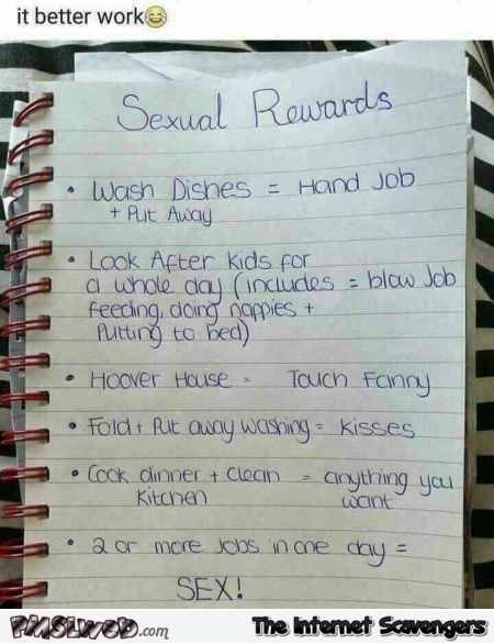 Funny housework sexual reward sheet adult humor @PMSLweb.com