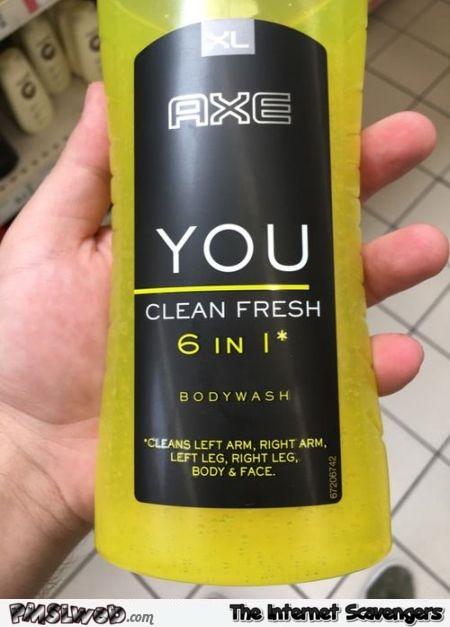 Funny axe bodywash bottle @PMSLweb.com
