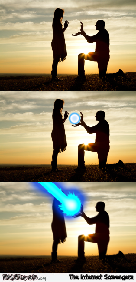 Funny photoshopped kamehameha marriage proposal @PMSLweb.com