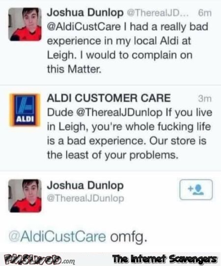 Our store is the least of your problems funny Aldi tweet @PMSLweb.com