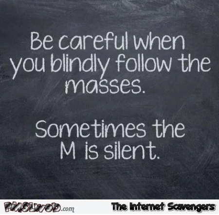 Be careful when you blindly follow the masses sarcastic humor @PMSLweb.com