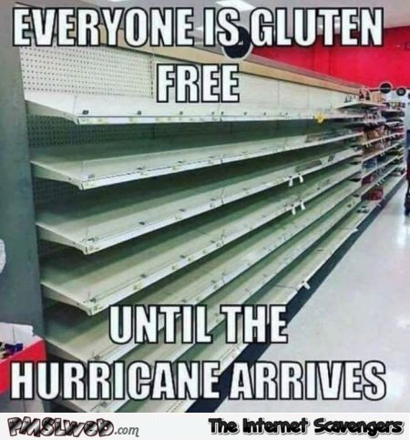 Everyone is gluten free until the hurricane arrives funny meme @PMSLweb.com