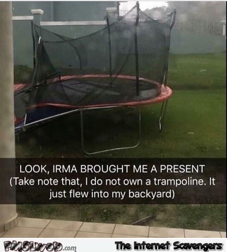 Thanks for the Trampoline Irma funny hurricane meme @PMSLweb.com