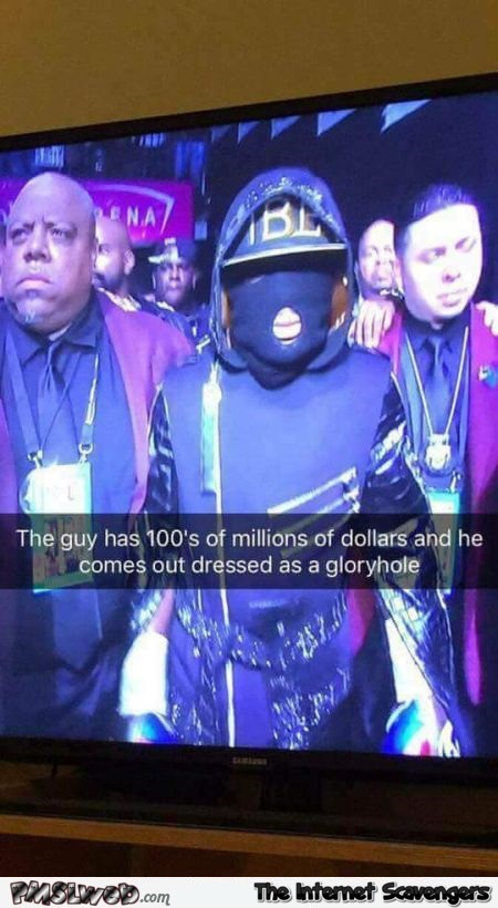 Floyd Mayweather comes out dressed as a gloryhole adult humor @PMSLweb.com