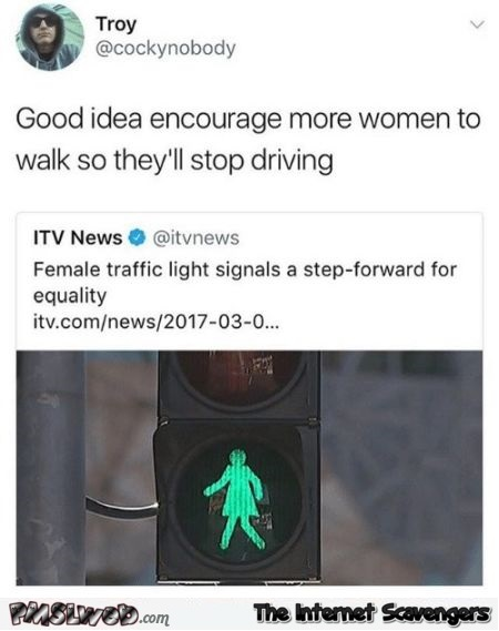 Female traffic light signals funny sexist tweet - Jocular Internet nonsense @PMSLweb.com