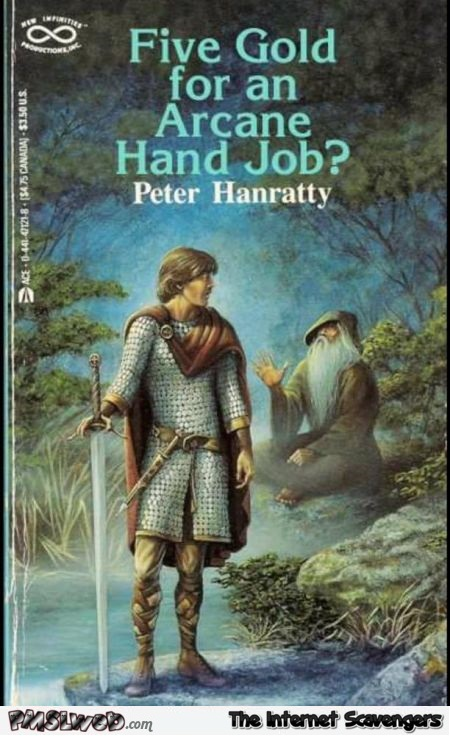 Five gold for an arcane hand job funny book cover - Sunday Shitz n Giggles @PMSLweb.com