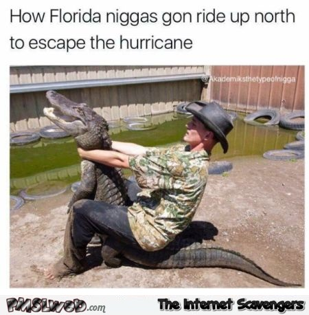How Floridians ride up north funny hurricane Irma meme @PMSLweb.com