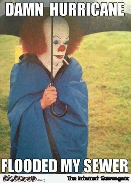 The hurricane flooded my sewer funny Pennywise meme @PMSLweb.com