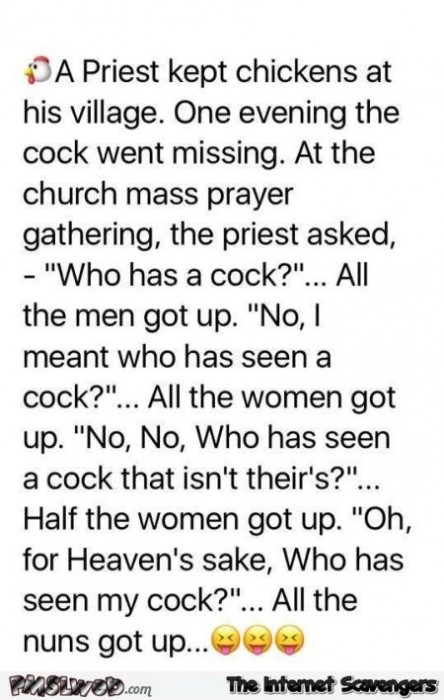 A priest loses his cock funny adult joke