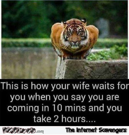 This is how your wife waits for you when you come home late funny meme @PMSLweb.com