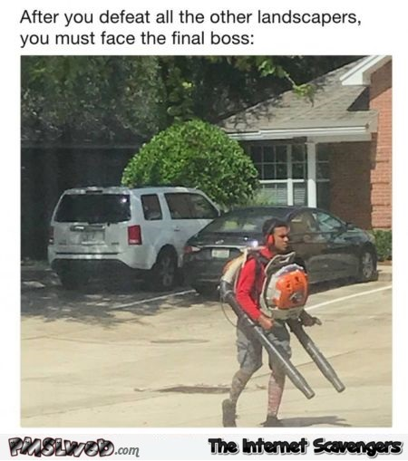 After you defeat all the other landscapers and must face the final boss funny meme @PMSLweb.com