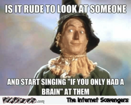 Is it rude to look at someone and start singing if I had a brain funny meme @PMSLweb.com