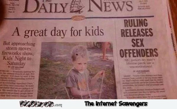 Ruling releases sex offenders funny newspaper fail