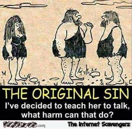 The original sin funny prehistoric cartoon - Laugh a minute pics and memes @PMSLweb.com