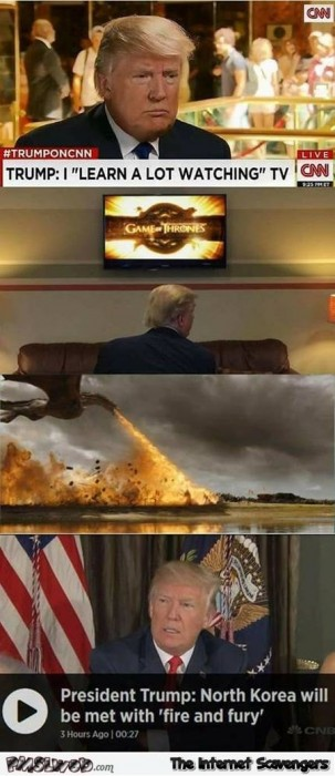 Trump watches Game of Thrones funny GoT meme