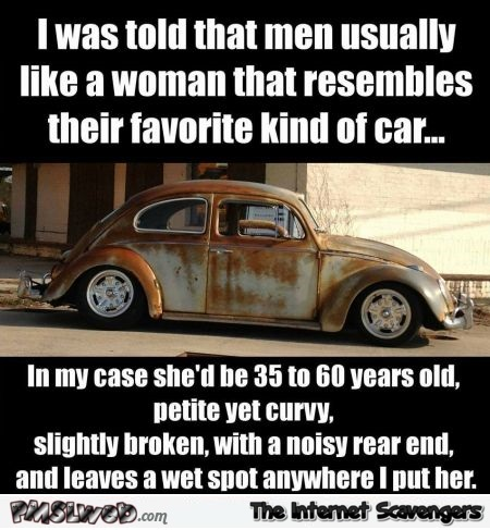 Men usually like a woman that resembles their favorite kind of car adult meme @PMSLweb.com