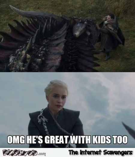 Jon Snow is great with kids funny Game of Thrones meme @PMSLweb.com