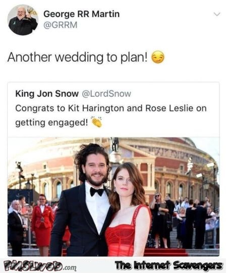 George RR Martin wants to plan Kit Harington's wedding funny tweet