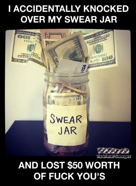 I accidentally knocked over my swear jar sarcastic meme @PMSLweb.com