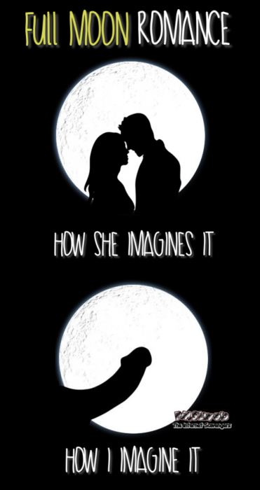 Full moon romance funny adult meme