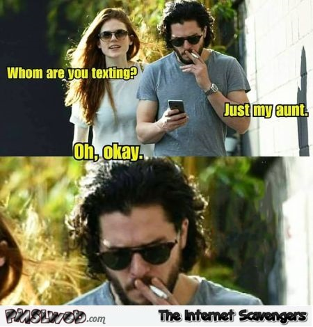 Kit Harington is texting his aunt meme - Game of Thrones hilarious memes and pictures @PMSLweb.com
