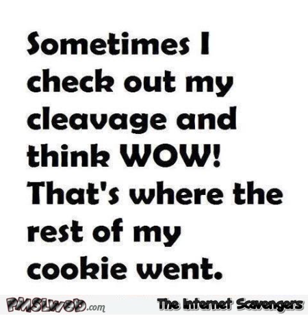 Sometimes I check out my cleavage funny quote - Thursday funnies @PMSLweb.com