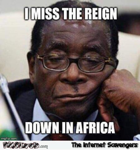 Mugabe misses the reign down in Africa funny meme @PMSLweb.com