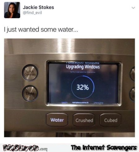 I just wanted some water funny fridge updating windows meme @PMSLweb.com