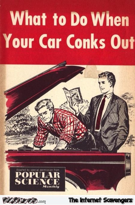What to do when your car conks out funny book cover @PMSLweb.com