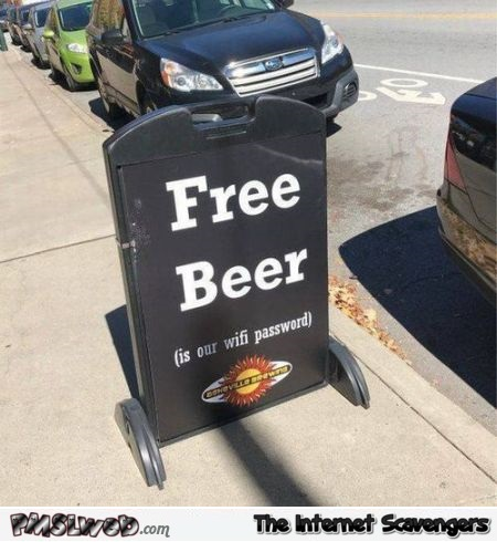Funny free beer sign @PMSLweb.com