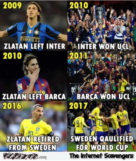 Zlatan is bad luck funny football meme | PMSLweb Funny Football Trolls 2017