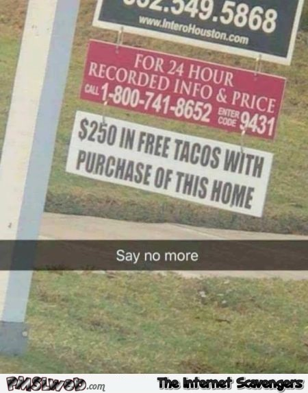 Arguments to sell a house funny sign @PMSLweb.com