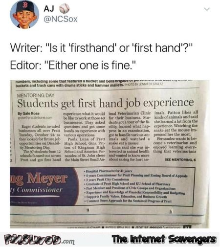 Is it firsthand or first hand funny newspaper fail @PMSLweb.com