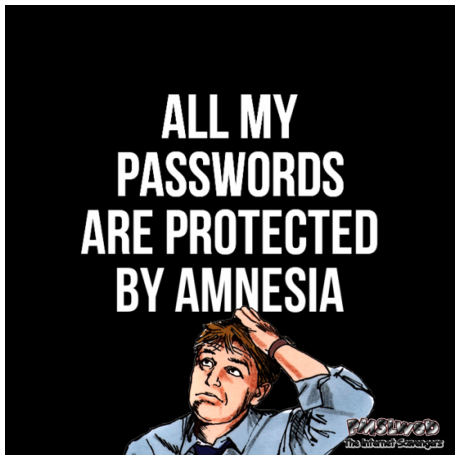 All my passwords are protected by amnesia sarcastic humor @PMSLweb.com