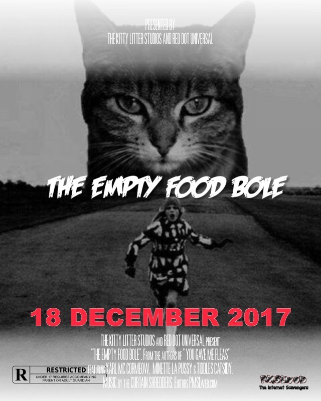 The empty food bole funny cat movie poster @PMSLweb.com