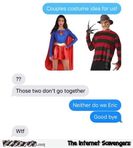 Couple costumes funny text message @PMSLweb.com