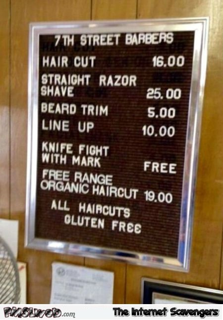 Funny Barber prices sign @PMSLweb.com