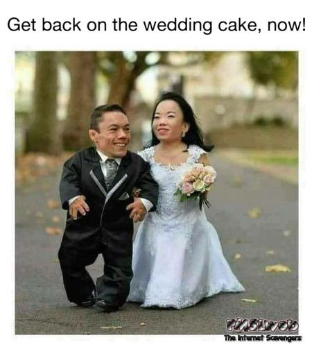 Figures escaping from the wedding cake funny inappropriate meme @PMSLweb.com