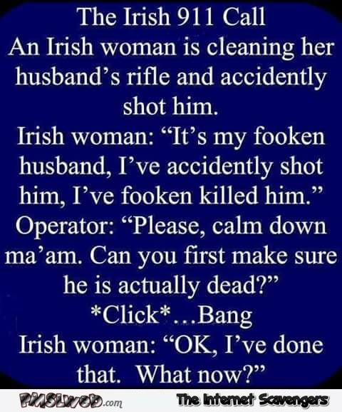 The Irish 911 call funny joke @PMSLweb.com